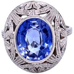Art Nouveau Verneuil Diamond Gold Filigree Ring
