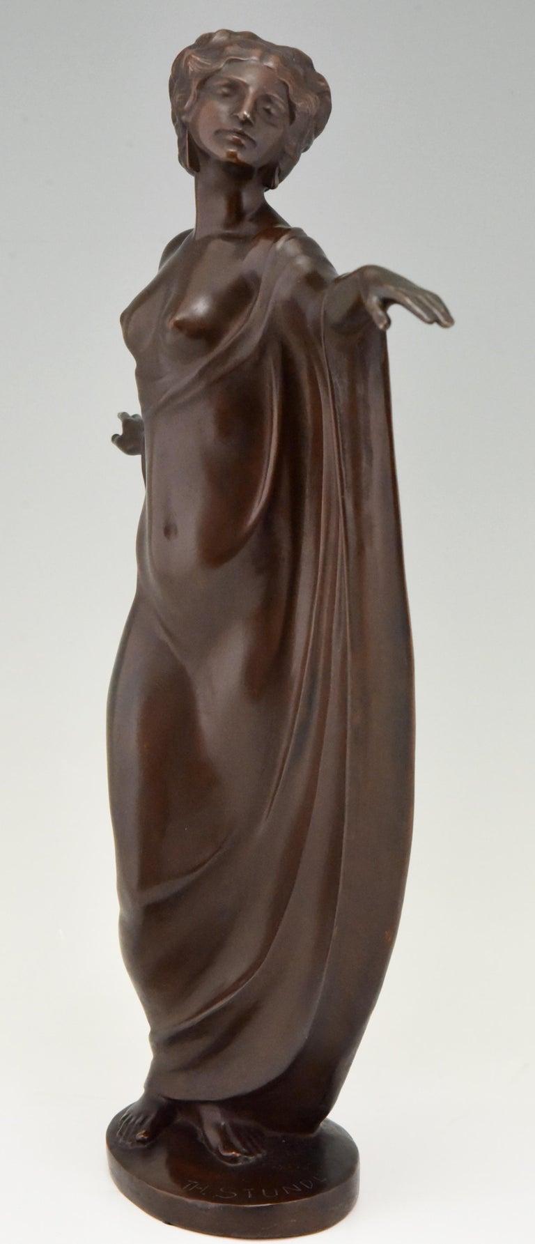Austrian Art Nouveau Vienna Bronze Sculpture Draped Nude Dancer Theodor Stundl, 1910 For Sale