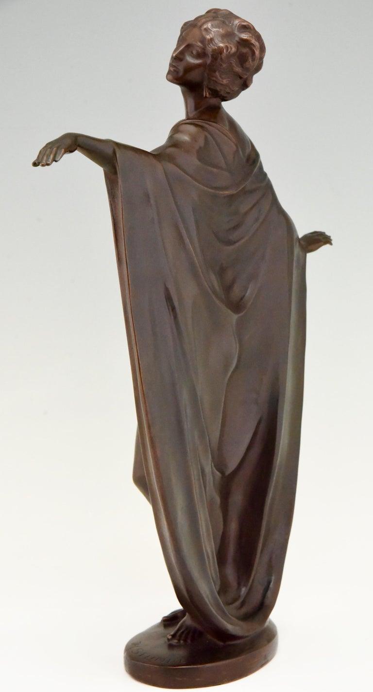 Patinated Art Nouveau Vienna Bronze Sculpture Draped Nude Dancer Theodor Stundl, 1910 For Sale