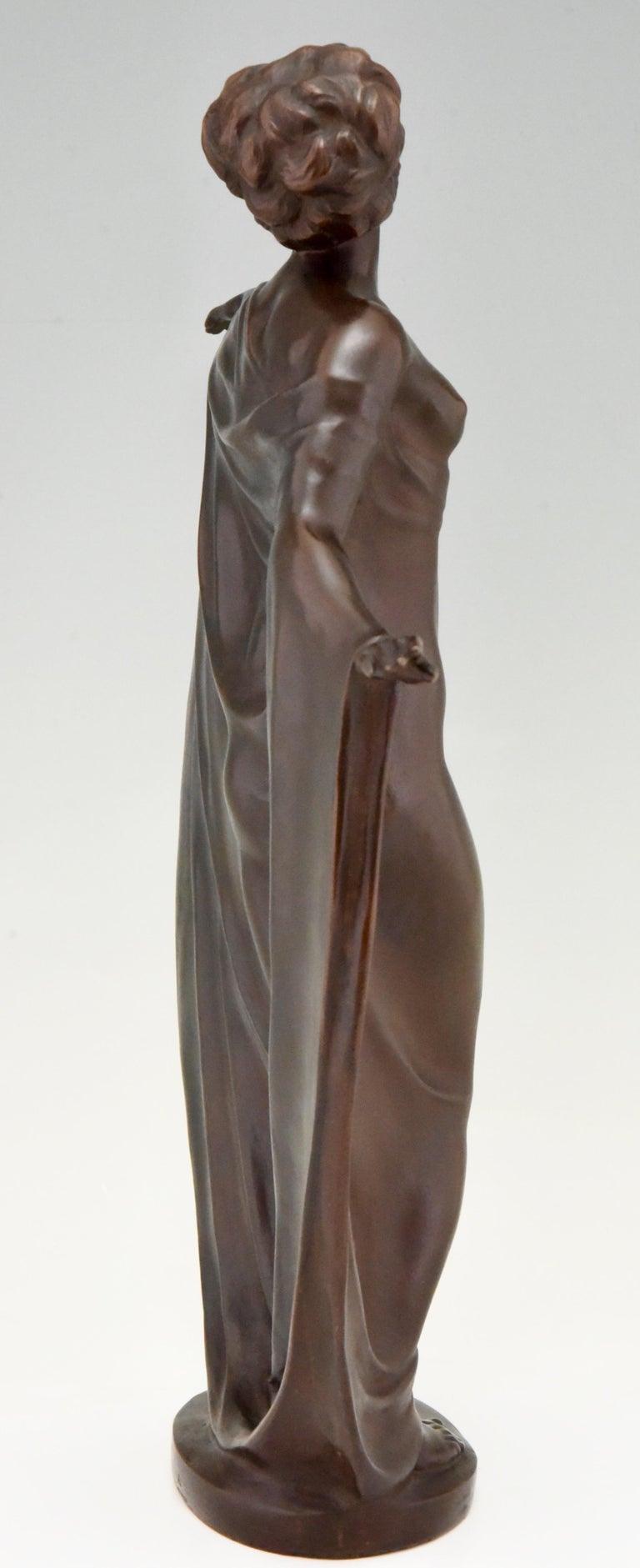 Early 20th Century Art Nouveau Vienna Bronze Sculpture Draped Nude Dancer Theodor Stundl, 1910 For Sale