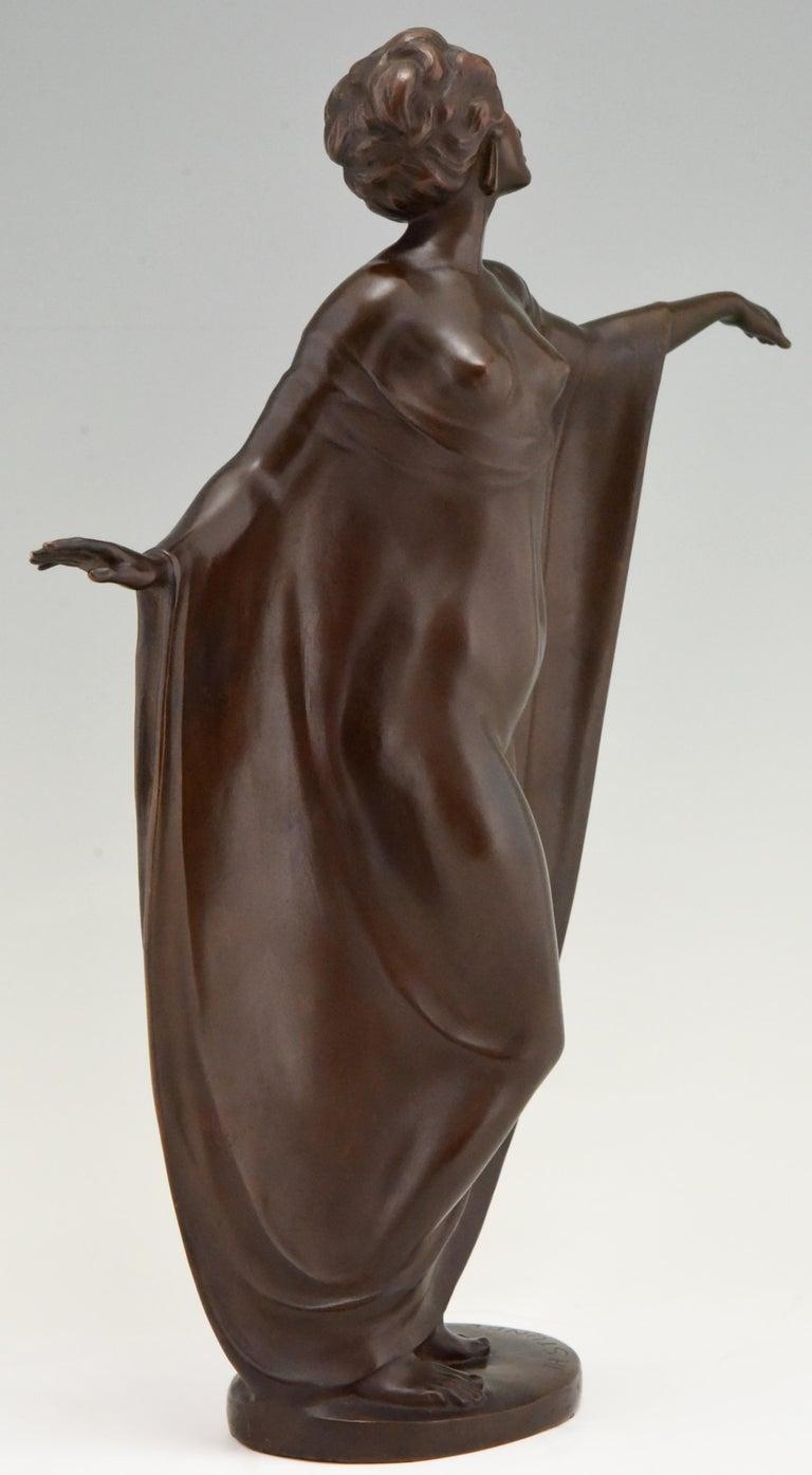 Art Nouveau Vienna Bronze Sculpture Draped Nude Dancer Theodor Stundl, 1910 For Sale 1