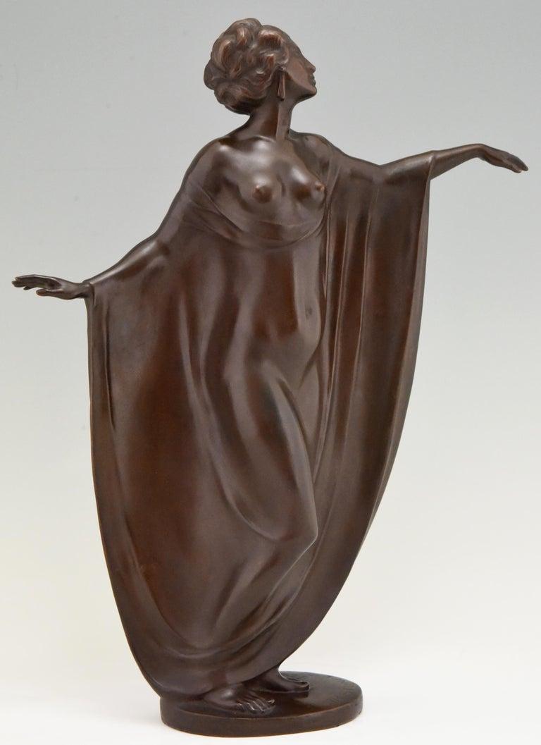 Art Nouveau Vienna Bronze Sculpture Draped Nude Dancer Theodor Stundl, 1910 For Sale 2