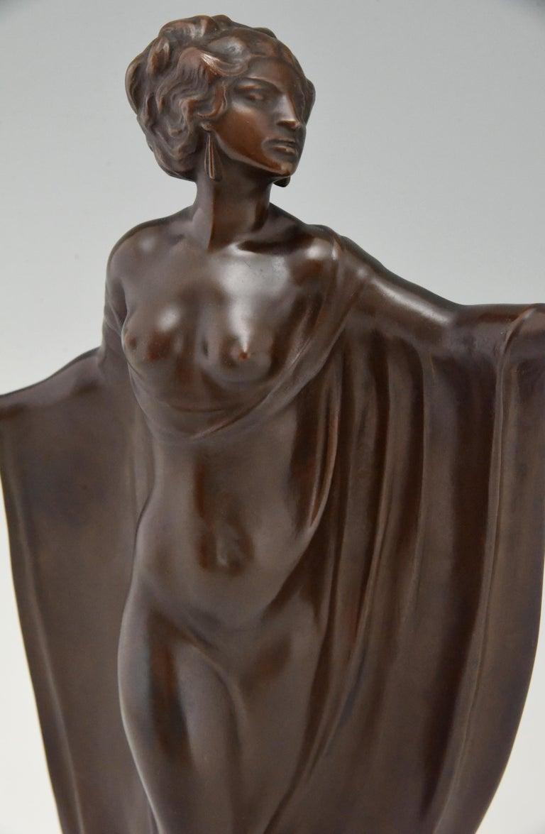 Art Nouveau Vienna Bronze Sculpture Draped Nude Dancer Theodor Stundl, 1910 For Sale 3