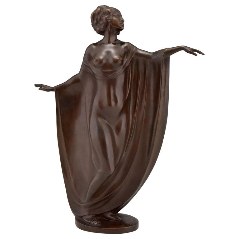 Art Nouveau Vienna Bronze Sculpture Draped Nude Dancer Theodor Stundl, 1910 For Sale