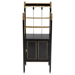 Art Nouveau Vienna Secession Lacquered Wood and Brass Magazine Stand, 1900s