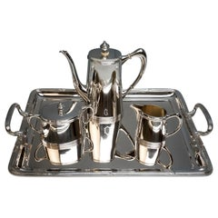 Art Nouveau Viennese Silver 4-Piece Coffee Set, Vincenz Mayer's Sons, circa 1900