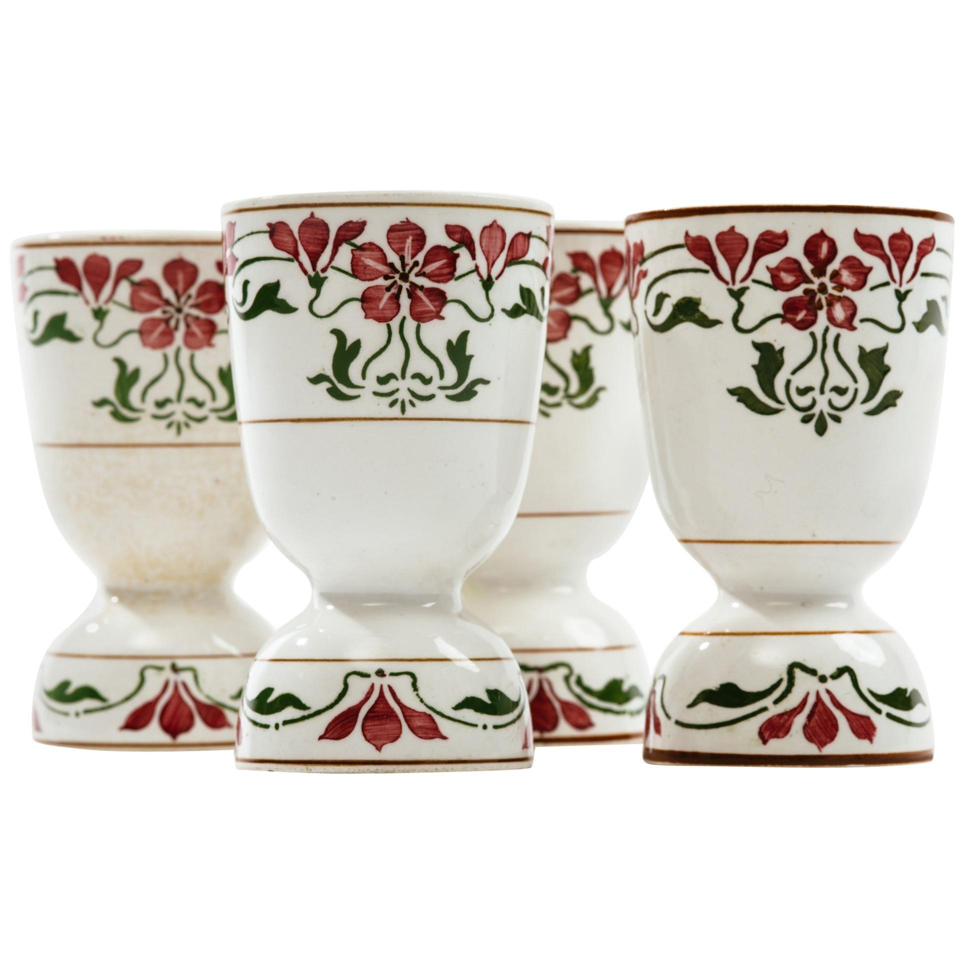 Art Nouveau Villeroy and Boch Saxony Poppy Porcelain Egg Cups