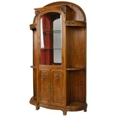 Art Nouveau Vitrine/Cabinet in Carved Oak, Vine Themed, France, circa 1905