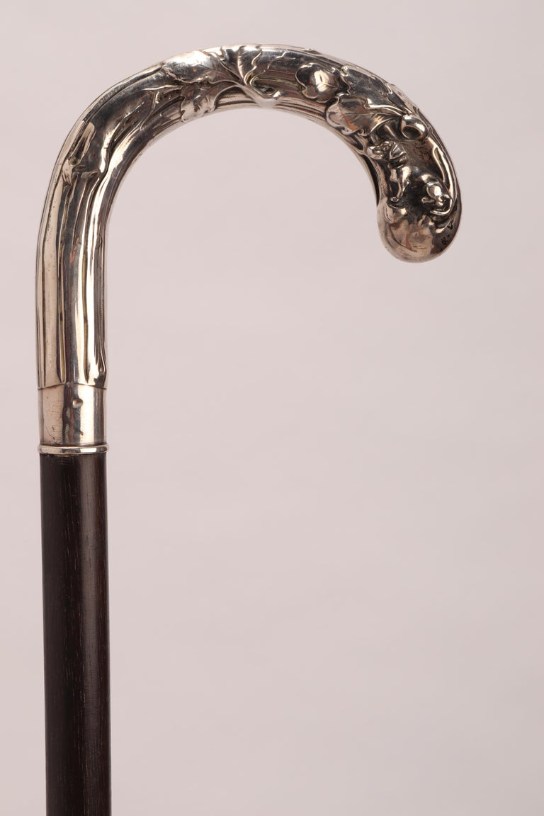 Walking stick: Art nouveau silver handle depicting a dog with acorn leaves. Ebony wood shaft. Metal tip. Germany 1890 ca.