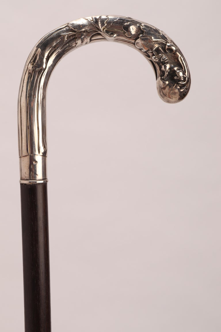 Art Nouveau Walking Stick Depicting a Dog, Germany, 1900 In Excellent Condition For Sale In Milan, IT