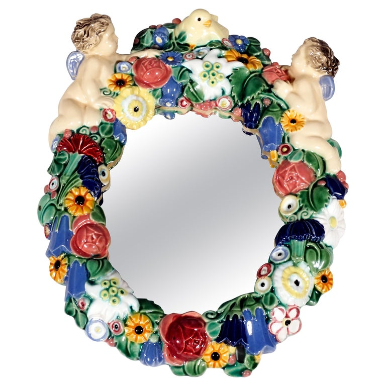 Art Nouveau Wall Mirror with Flowers and Cupids by Michael Powolny, Vienna, 1915 For Sale