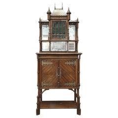 Art Nouveau Walnut Cabinet with Castle Decor, circa 1900