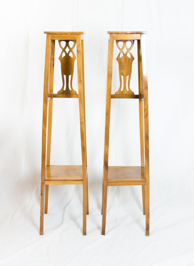 German Art Nouveau Walnut Flower Stands / Pedestals For Sale