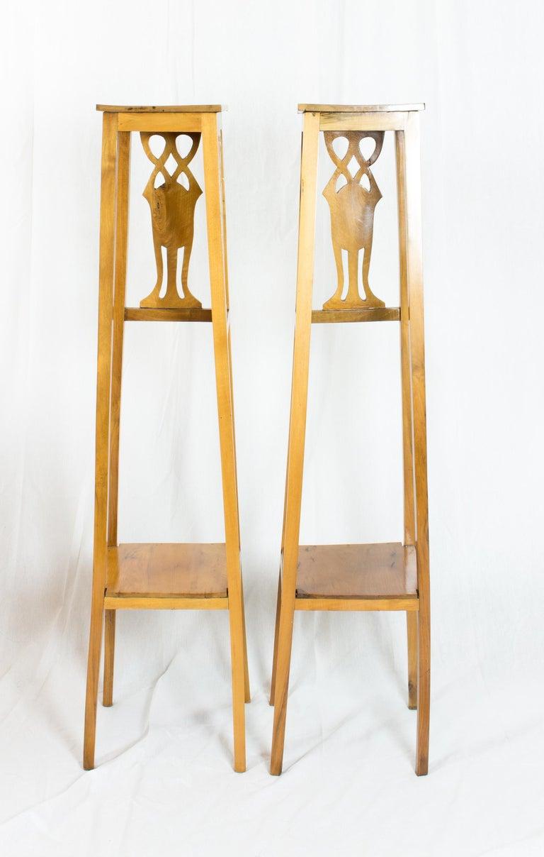 Polished Art Nouveau Walnut Flower Stands / Pedestals For Sale
