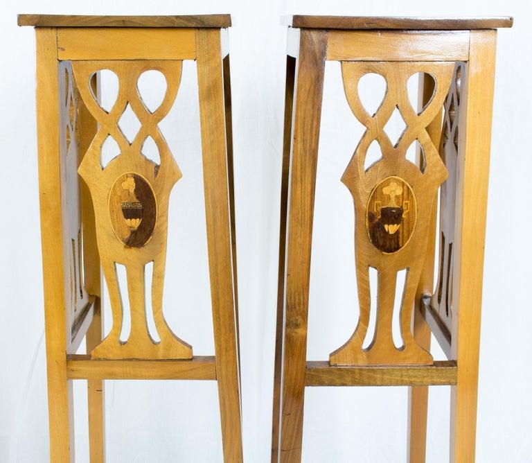 Art Nouveau Walnut Flower Stands / Pedestals For Sale 1