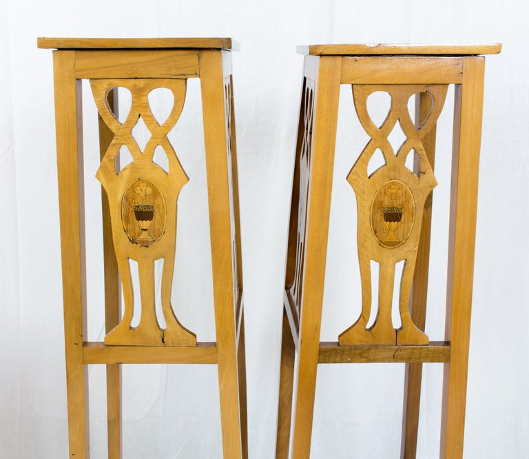 Art Nouveau Walnut Flower Stands / Pedestals For Sale 2