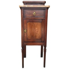 Art Nouveau Walnut Nightstand with Crest, Marble Top and Glass Shelve