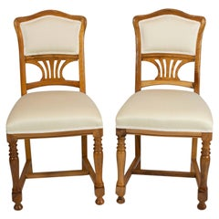 Art Nouveau Walnut Pair of Chairs