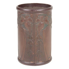 Art Nouveau Waste Bin in Patinated Leather, 1910s