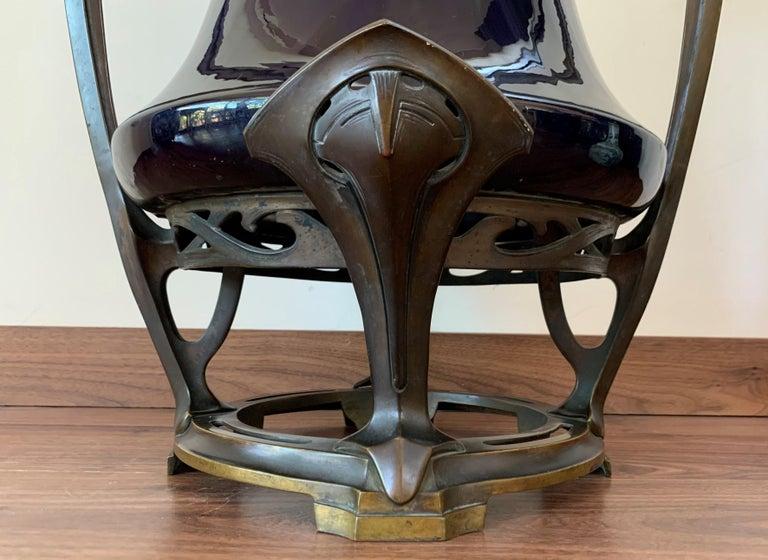 Art Nouveau Water Lily Vase Jugendstil Bronze in the Manner of Otto Eckman For Sale 3