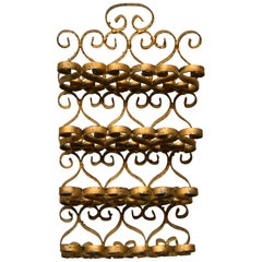 Art Nouveau Whimsical Handcrafted Golden Wrought Iron Letter, Recipe Organizer