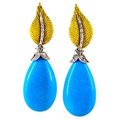 Art Nouveau White Brilliant Cut Diamond Turquoise Yellow Gold Clip-On Earrings