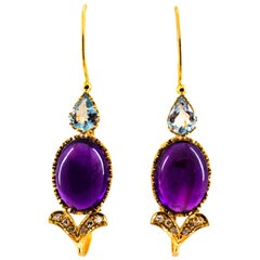 Art Nouveau White Diamond Aquamarine Amethyst Yellow Gold Lever-Back Earrings