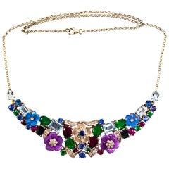 Art Nouveau White Diamond Blue Sapphire Ruby Emerald White Gold Flowers Necklace