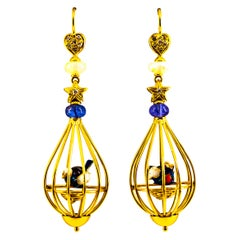 Art Nouveau White Diamond Coral Opal Tanzanite Yellow Gold Birdcage Earrings