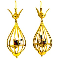 Art Nouveau White Diamond Coral Pearl Enamel Yellow Gold Birdcage Drop Earrings
