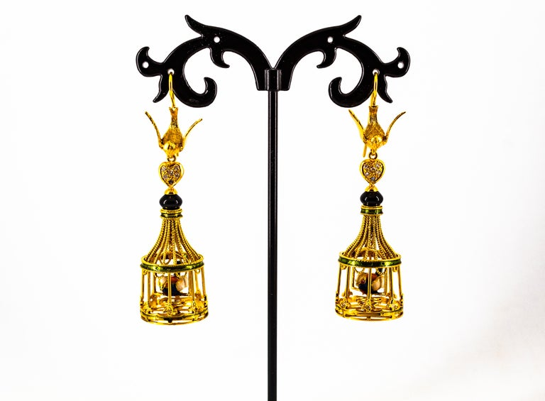 Art Nouveau White Diamond Coral Pearl Onyx Enamel Yellow Gold Birdcage Earrings For Sale 6