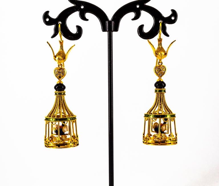 Art Nouveau White Diamond Coral Pearl Onyx Enamel Yellow Gold Birdcage Earrings For Sale 7