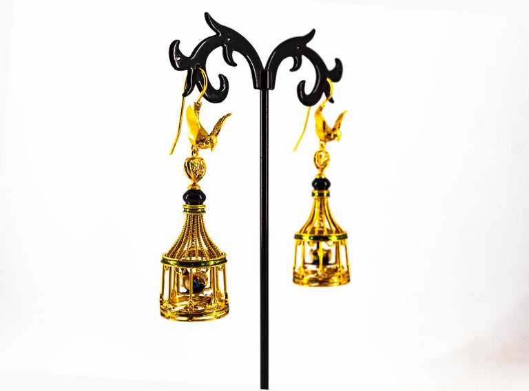 Art Nouveau White Diamond Coral Pearl Onyx Enamel Yellow Gold Birdcage Earrings For Sale 8