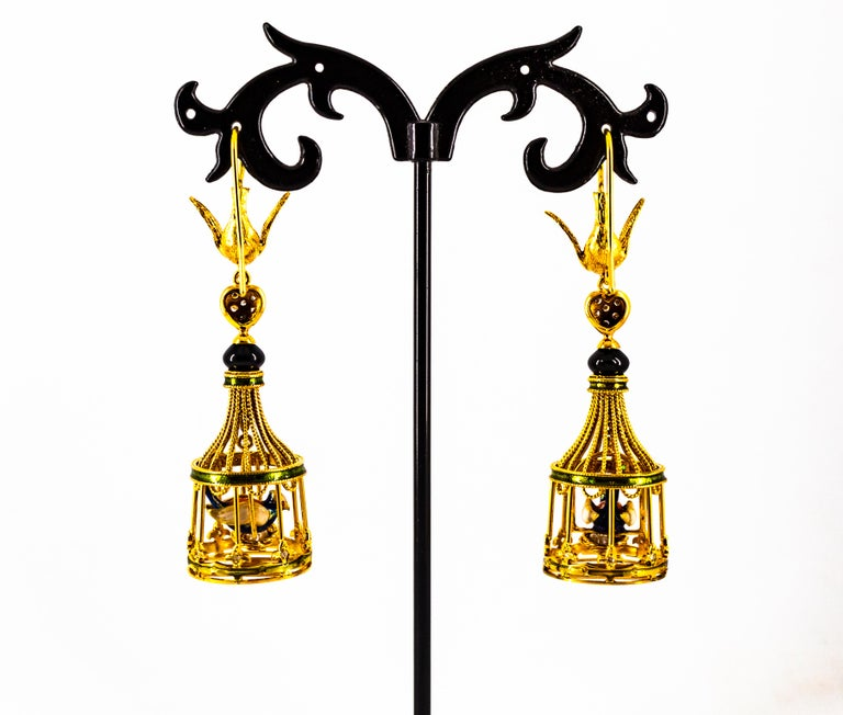 Art Nouveau White Diamond Coral Pearl Onyx Enamel Yellow Gold Birdcage Earrings For Sale 9