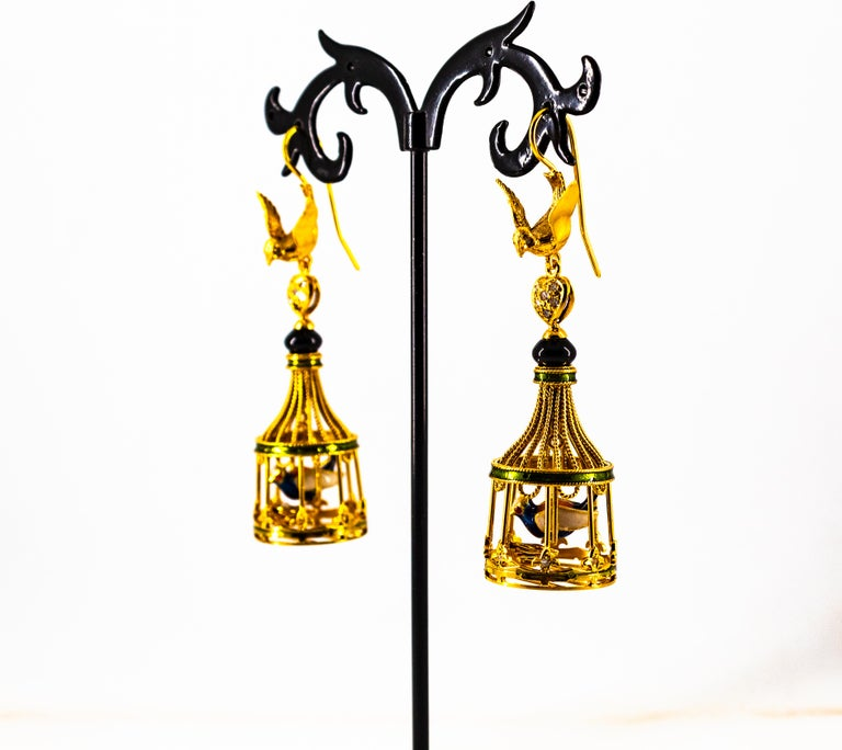 Art Nouveau White Diamond Coral Pearl Onyx Enamel Yellow Gold Birdcage Earrings For Sale 10