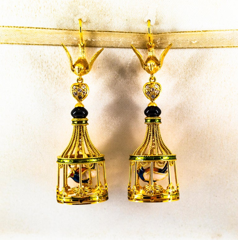 Art Nouveau White Diamond Coral Pearl Onyx Enamel Yellow Gold Birdcage Earrings In New Condition For Sale In Naples, IT