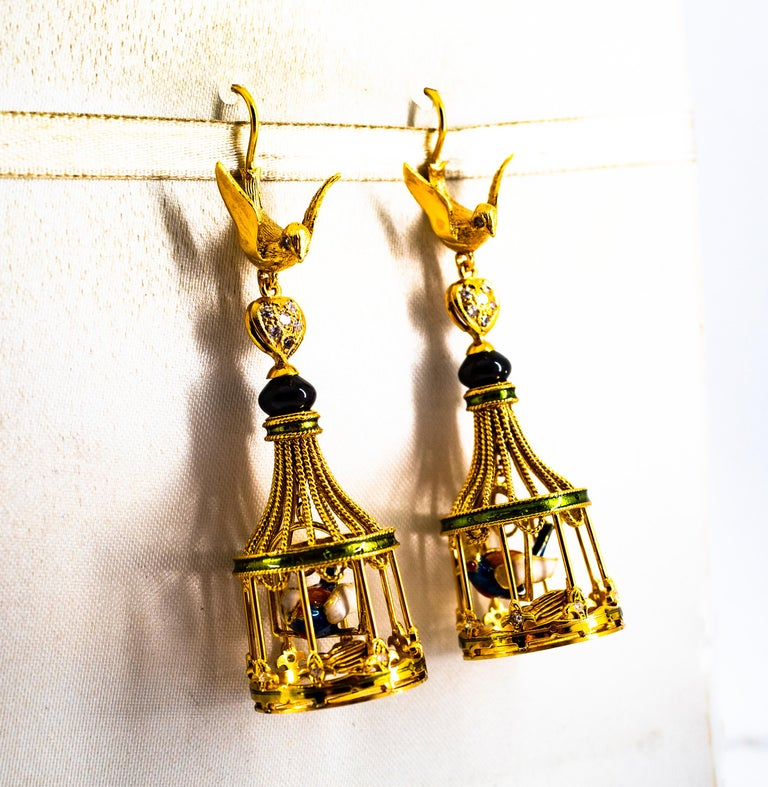 Art Nouveau White Diamond Coral Pearl Onyx Enamel Yellow Gold Birdcage Earrings For Sale 1