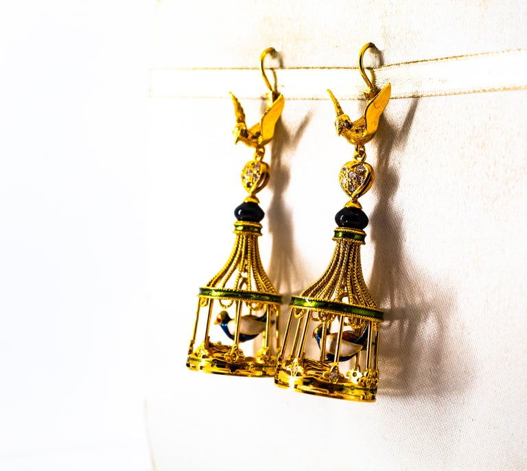 Art Nouveau White Diamond Coral Pearl Onyx Enamel Yellow Gold Birdcage Earrings For Sale 2