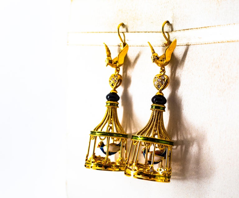 Art Nouveau White Diamond Coral Pearl Onyx Enamel Yellow Gold Birdcage Earrings For Sale 3