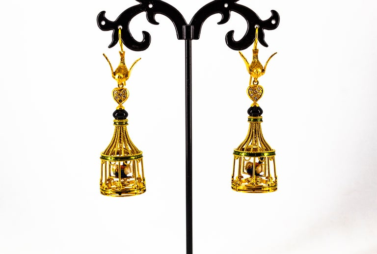 Art Nouveau White Diamond Coral Pearl Onyx Enamel Yellow Gold Birdcage Earrings For Sale 4