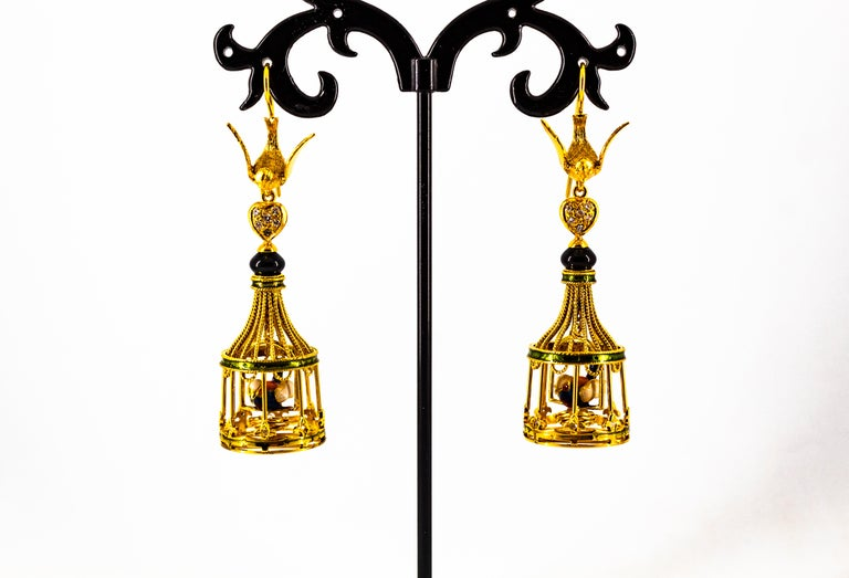 Art Nouveau White Diamond Coral Pearl Onyx Enamel Yellow Gold Birdcage Earrings For Sale 5