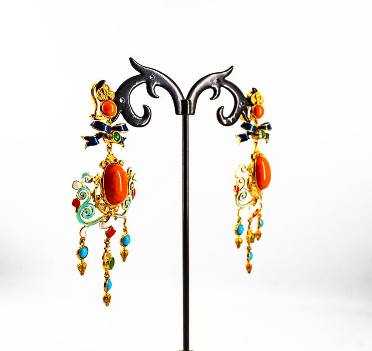 Art Nouveau White Diamond Emerald Coral Turquoise Yellow Gold Clip-On Earrings For Sale 6