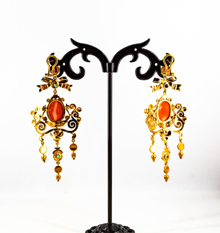 Art Nouveau White Diamond Emerald Coral Turquoise Yellow Gold Clip-On Earrings For Sale 7