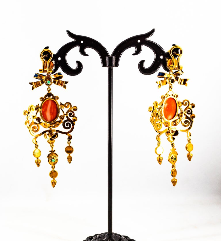 Art Nouveau White Diamond Emerald Coral Turquoise Yellow Gold Clip-On Earrings For Sale 8