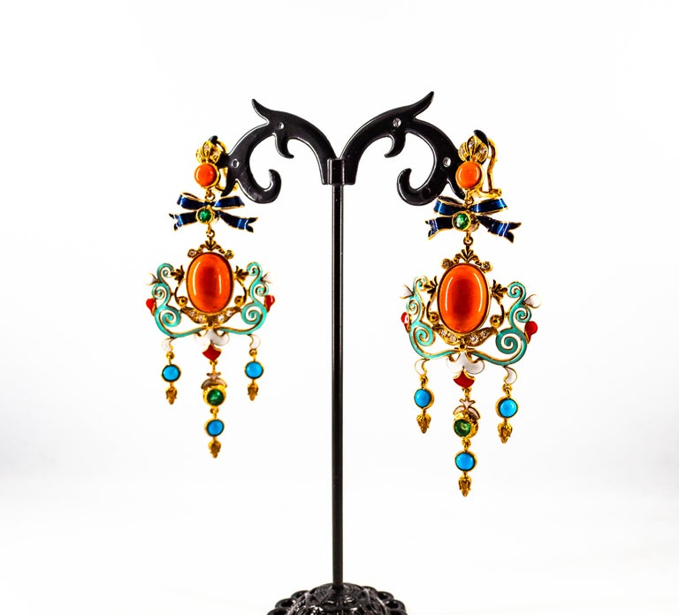 Art Nouveau White Diamond Emerald Coral Turquoise Yellow Gold Clip-On Earrings For Sale 9