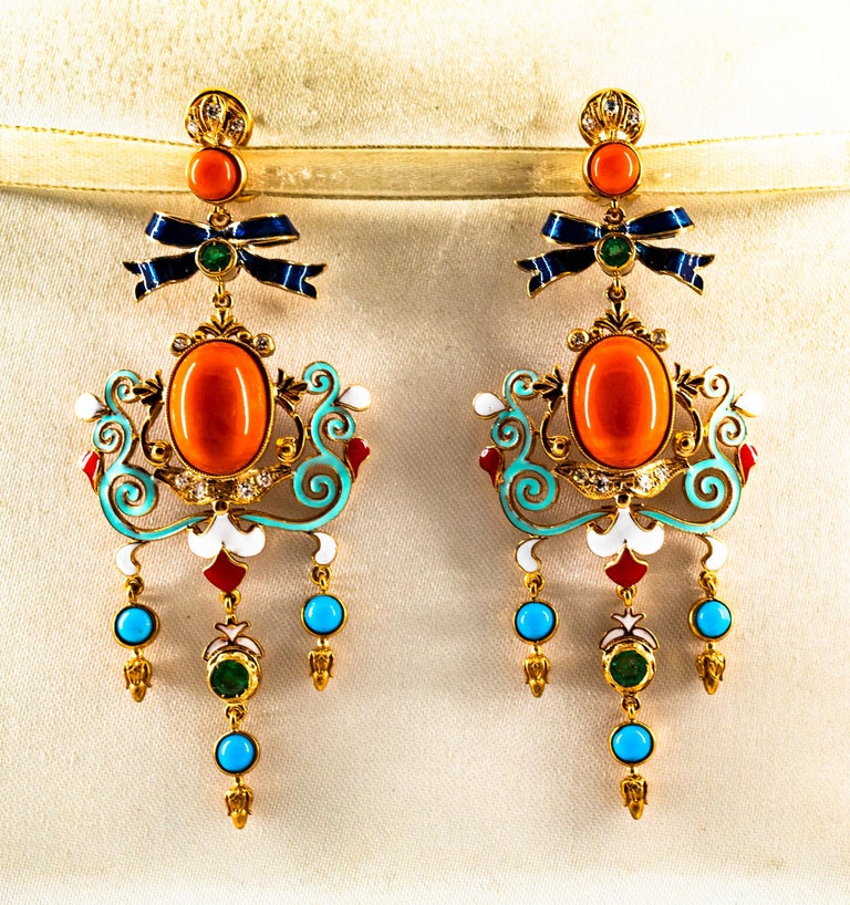 Art Nouveau White Diamond Emerald Coral Turquoise Yellow Gold Clip-On Earrings In New Condition For Sale In Naples, IT