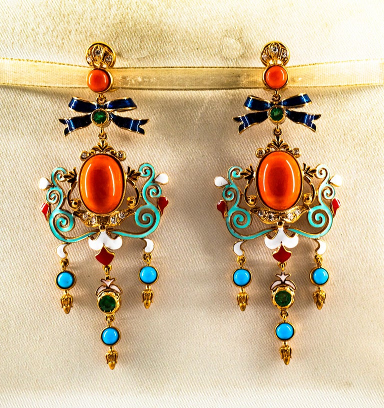 Women's or Men's Art Nouveau White Diamond Emerald Coral Turquoise Yellow Gold Clip-On Earrings For Sale