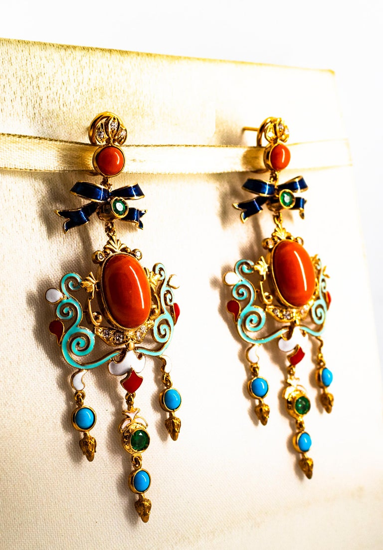 Art Nouveau White Diamond Emerald Coral Turquoise Yellow Gold Clip-On Earrings For Sale 1