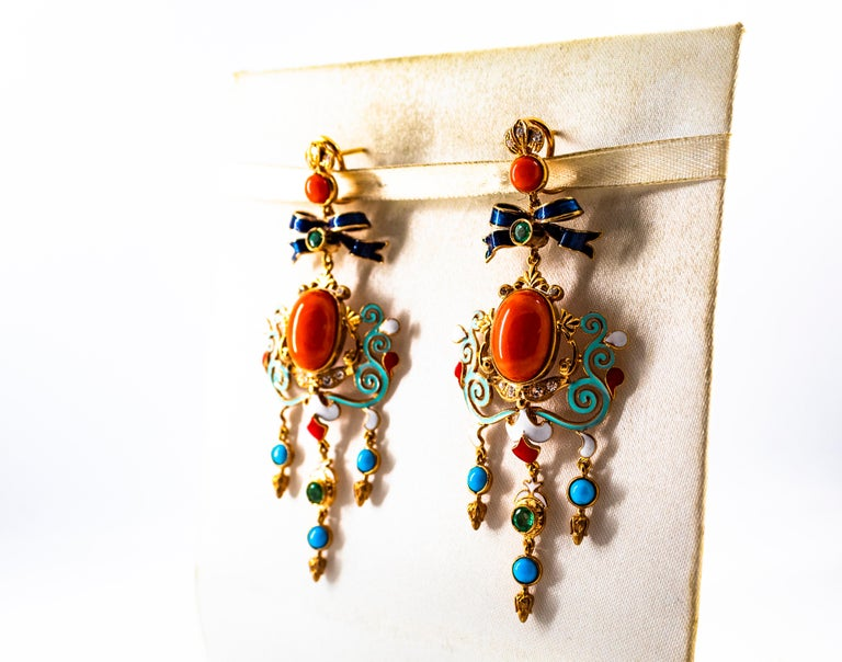 Art Nouveau White Diamond Emerald Coral Turquoise Yellow Gold Clip-On Earrings For Sale 2