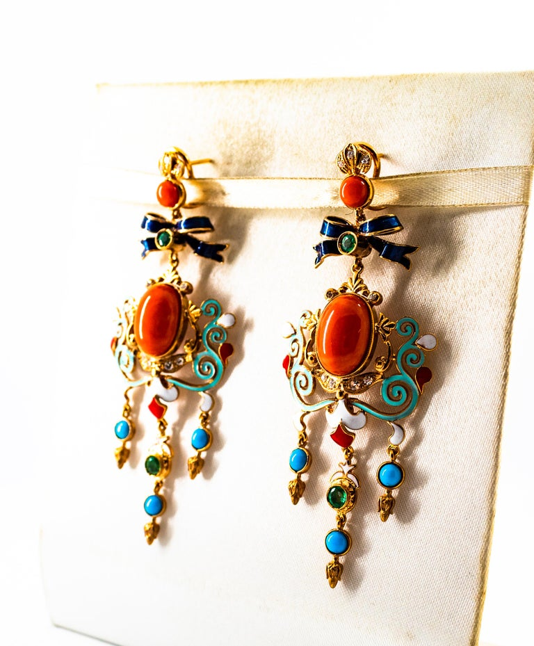 Art Nouveau White Diamond Emerald Coral Turquoise Yellow Gold Clip-On Earrings For Sale 3